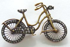 Bicycle Pin Brooch 14Kt Gold with Rose Diamonds Movable Wheels Edwardian Vintage | eBay. Jewelry Crafts, Jewelry Art, Antique Jewelry, Beaded Jewelry, Vintage Jewelry, Vintage Pins, Fine Jewelry, Fashion Jewelry, Vintage Bicycles