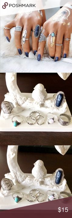 ✨Boho 6pc Silver Ring Set✨ Boho Gypsy Style Set of Rings. Six included in set. Antique vintage retro style Silver Plated. Fun and fashionable. In trend and easy to pair with many outfits! Wear a few or all together at once. Various sizes. Some are adjustable. Pic 2&3 actual item. New in package. Bundle and save! Jewelry Rings
