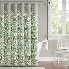 Develop a design-savvy space with the help of this Tara shower curtain from Madison Park. In teal. Paisley Shower Curtain, Fabric Shower Curtains, Curtain Accessories, Bathroom Accessories, Shower Liner, Colorful Curtains, Modern Materials, The Help, Orange