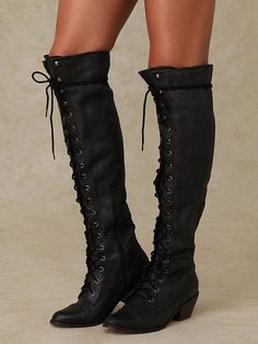 Black Round Toe Chunky Cross Strap Lace Up Casual Over-The-Knee Boho Boots Thigh High Boots, High Heel Boots, Over The Knee Boots, Heeled Boots, Bootie Boots, Calf Boots, High Heels, Women's Boots, Pumps Heels
