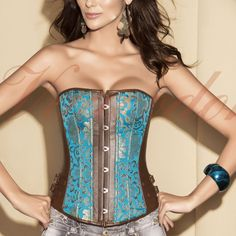 fe61c35a5e Teal Brocade and Brown Leather Corset Overbust Corset