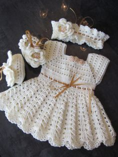Handmade Girl Crochet Dress Head Band and Booties Set with