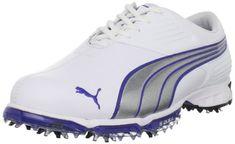 PUMA Men's Spark Sport Golf Shoe,White/Puma Silver/Surf T...