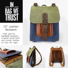 High quality handmade backpack created using hard and sturdy leather to last for ages. By InBagWeTrust on Etsy