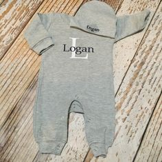 Monogrammed boys romper with cap, personalized, coming home outfit, boy-girl, newborn, infant, baby, newborn pictures, photo outfit