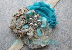 Baby headband Newborn Headband flower headband by ThinkPinkBows Shabby Chic Headbands, Diy Baby Headbands, Diy Headband, Baby Bows, Flower Headbands, Diy Hair Accessories, Diy For Girls, Fabric Flowers, Shabby Flowers