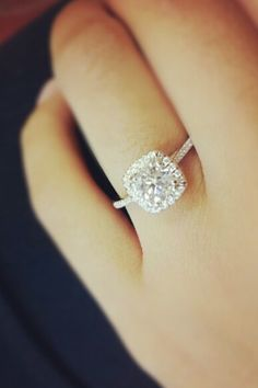 Cushion cut with thin band and thin halo