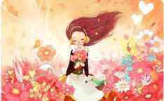 Kai Fine Art is an art website, shows painting and illustration works all over the world. Art Fantaisiste, Kim Min Ji, Girls With Flowers, Retro Art, Whimsical Art, Couple, Pictures To Draw, Book Illustration, Girl Illustrations