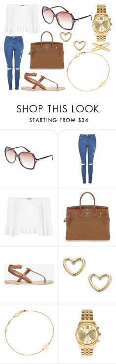 """Lunch and Shopping"" by laura2703 ❤ liked on Polyvore featuring Tom Ford, Topshop, Hermès, Ancient Greek Sandals, Marc by Marc Jacobs, Astley Clarke, Michael Kors and Eva Fehren"