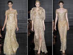 metallic gold wedding dress Gold Wedding Dresses- The one on the left
