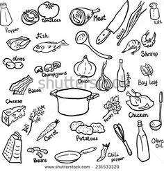 Doodle set of components and utensils for cooking dinner,hand drawn design elements - stock vector