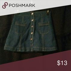Skirt Jean, front button, size S.. waist 24 Forever 21 Skirts Mini