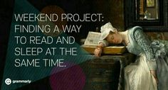 Weekend project: finding a way to read and sleep at the same time.