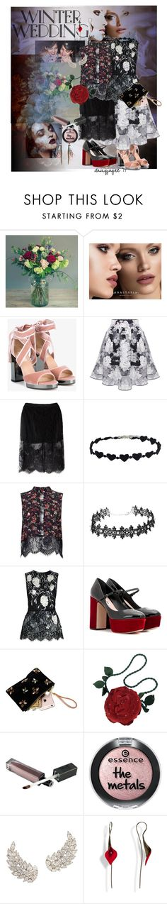 """romance at the wedding"" by daizyjayne ❤ liked on Polyvore featuring Anastasia Beverly Hills, Valentino, Chicnova Fashion, Miss Selfridge, Oscar de la Renta, Miu Miu, Emanuel Ungaro, Etro, contestentry and winterwedding"