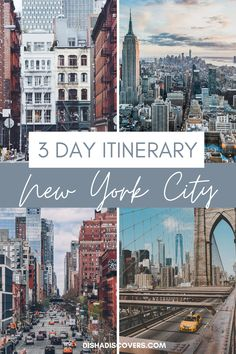 Planning a short trip to New York City? Here is a New York City itinerary for three days that includes travel tips, guides, and places to visit. Follow this guide to have the best time in New York City. It includes the Brooklyn Bridge, Statue of Liberty, Central Park, Broadway, and more. #newyorkcity #usatravel #traveltips #newyorkcitytravel #nyctravel #newyorkcitytravelguide New York Travel Guide, New York City Travel, Travel Tips, Travel Advice, New York City Trip, Travel Guides, Cool Places To Visit, Places To Go, Park Landscape