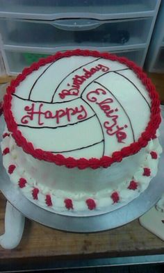 Red Velvet volleyball birthday cake -JRHG