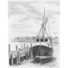 Royal Brush Sketching Made Easy Kit Boat - fishing boat Graphite Drawings, Drawing Sketches, Sketching, Pencil Art, Pencil Drawings, Art Drawings, Desenho Tattoo, Landscape Drawings, Drawing Techniques