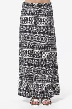 Black & white geo print maxi skirt with belt - Clothing