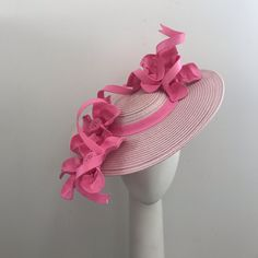 Stunning one of a kind pink boater brimmed hat Proudly handmade with love and top quality materials in Auckland New Zealand Custom orders warmly welcomed Oaks Day, Ascot Hats, Pink Hat, Derby Hats, Kentucky Derby, Fascinator, Claire, Baby Shoes, Sandals