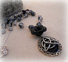 Victorian Style celtic Triquetra Necklace,Hematite Gemstones ,wiccan jewelry,pagan,witchcraft,metaphysical,wicca. $29.99, via Etsy.