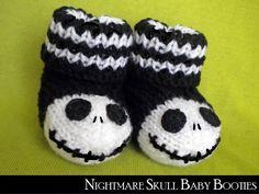 Crochet Baby Mittens Nightmare Skull Baby Booties - via - Baby Booties Knitting Pattern, Crochet Baby Booties, Crochet Slippers, Baby Knitting, Knitting Patterns, Knitting Needles, Crochet Crafts, Yarn Crafts, Crochet Projects