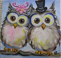 Original Owl Painting on Canvas Mr and Mrs by IntoTheBluePaintShop