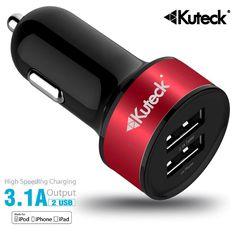 MINI DUAL USB CAR CHARGER 5V 3.1AMP – 1.0A & 2.1A UNIVERSAL PORTS POWER SUPPLY (RED)    www.kuteckusa.com.