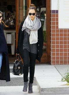Pairing greys & lightening up a dark outfit with light scarf