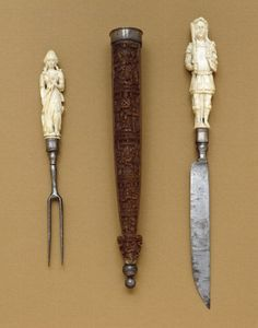 Knife-and-Fork Set with Mars and Diana (may be in ivory), 1650-90 - art.thewalters.org