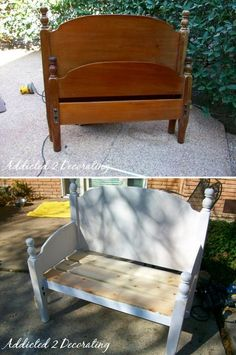 Upcycle a twin headboard and footboard into a cute bench. For all those twin head and foot boards for sale at yard sales.