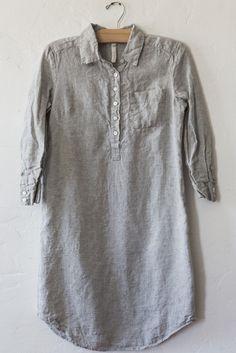 nut hatch grey linen shirt dress