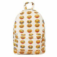 Unisex Emoji Book School Travelling Bag Tablet Laptop Backpack Schoolbag Emoticon Rucksack White, http://www.amazon.ca/dp/B00ZZLHS54/ref=cm_sw_r_pi_awdl_M2u3vbNPKX11M