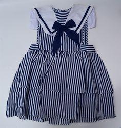 brandnieuwe vintage deadstock overgooiertje matrozenjurkje deadstock meisjes jurk polycotton strokenrokje matrozenkraag 2jaar meisje kleuter door Smufje op Etsy