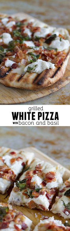 This simple white pizza recipe is made on the grill and topped with mozzarella, ricotta, and lots of salty bacon.