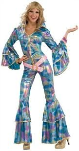 Disco Jumpsuit Costume for Women featuring a metallic, swirly pattern print with flared sleeves and legs and shimmery pink belt.