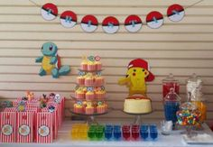9th Birthday Parties, Birthday Candy, Fete Laurent, Pokemon Party Decorations, Wwe Party, Pokemon Birthday, Childrens Party, Animal Party, Party Gifts