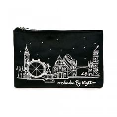 London by Night Zip Pouch: A beautiful cityscape depiction of 'London by Night' in silver embroidery adorns this zip pouch.  Keep those valuables safe when on-the-move with this stylish accessory.  - Visit Lulu Guinness at http://www.luluguinness.com/