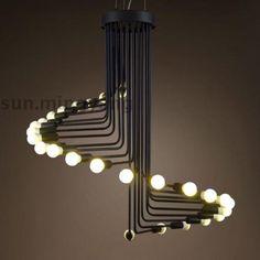 Retro Spiral Staircase Shaped Pendant Light in Black/White Suspension Chandelier