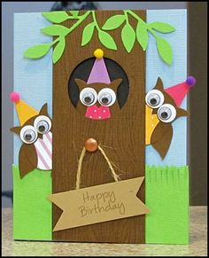 Card idea Stampin' Up! Stampin Up Owl Punch Builder Card Idea Bday Cards, Kids Birthday Cards, Owl Punch Cards, Tarjetas Diy, Owl Card, Cricut Cards, Stamping Up Cards, Kids Cards, Cute Cards
