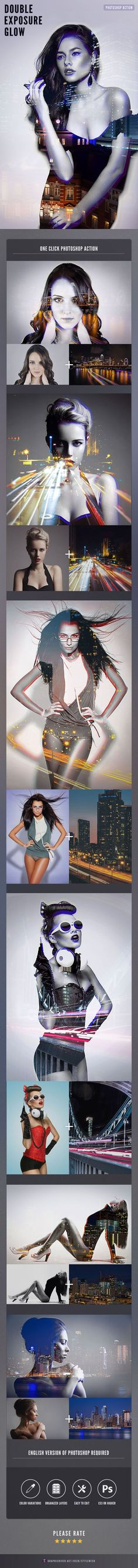 Double Exposure Glow Photoshop Action - Photo Effects Actions