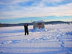 Ice fishing. Ice shack. Wisconsin.