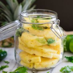 Spicy Pickled Pineapple. A great salad or sandwich topper with the perfect sweet & tangy bite. Ready in just 1 day!