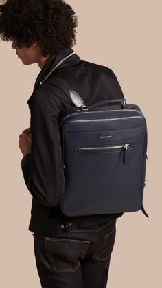 Dark navy London Leather Backpack 3
