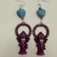 Ganesh Elephant Earrings with Turquoise Heart  by addiewuensch, $20.00
