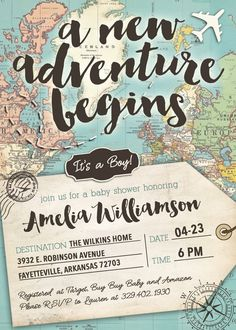 There is no greater adventure to celebrate than bringing a new baby into your family!     This vintage inspired travel invitation is perfect for a baby shower decorated with rustic maps, suitcases, airplanes and a million other cute ideas!