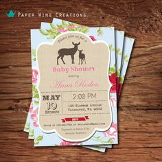 Woodland deer baby shower invitation. floral baby girl shower, baby boy shower invite. Burlap deer doe and fawn printable DIY invite. B67