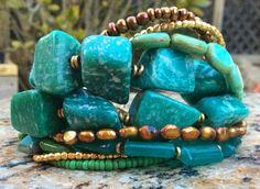 Russian Amazonite, Teal, Mint, Aqua, Gold and Bronze Bracelet $195