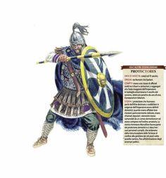 I protectores erano unità d'élite del Tardo Impero Romano (IV secolo). Erano formati da ufficiali e centurioni romani che difendevano il generale o l'imperatore in battaglia, tanto che il vessillo imperiale era portato da uno di loro, il preapositum labarum. Si distinguevano in domestici (che eseguivano gli ordini del re, come ristrutturazioni alle fortezze di frontiera o l'eliminazione di un avversario politico) e deputati (incaricati di compiti delicati). #ASC #Roma #Protectores