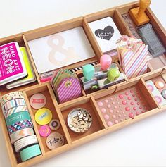 """This is another way I can use my new """"knick-knack display shelf"""".  I like how she only painted the sides & painted the name on the front. Craft supply organization ideas with a printer tray"""