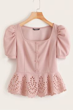 Shop Button Front Puff Sleeve Laser Cut Hem Blouse at ROMWE, discover more fashion styles online. Dressy Tops, Mode Hijab, Plus Size Blouses, Women's Blouses, Types Of Sleeves, Blouse Designs, Fashion Dresses, Fashion Clothes, Cute Outfits